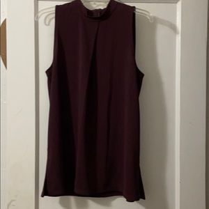 Sleeveless mock neck blouse
